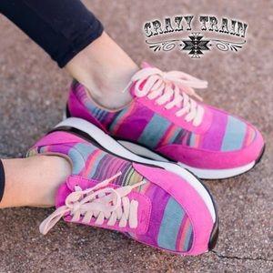 Crazy Train NIB Pink Serape Lime Springs Kicks
